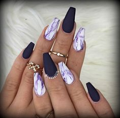Why do acrylic nails always look way better then natural nails? There is just something about acrylic nails that are simply fabulous and we have found a bunch of awesome acrylic nail designs. Best Acrylic Nails, Acrylic Nail Art, Acrylic Nail Designs, Nail Art Designs, Marble Nail Designs, Acrylic Summer Nails Almond, Acrylic Nails Coffin Matte, Coffin Nails Designs Summer, Dark Nail Designs