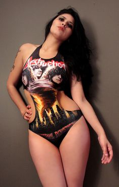 Nothing hotter than a curvy metal chick. Destruction is a badass thrash band too. Heavy Metal Girl, Heavy Metal Fashion, Dark Fashion, Thrash Metal, Hard Rock, Heaviest Woman, Rocker Chick, Monokini Swimsuits, Gothic Girls