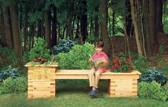 Assemble a stationary bench between sturdy planters made from stacked cedar boards