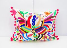 Mexican Otomi pillow cover, handmade animal and flowers, colorful decorative, Unique piece of mexican culture, otomi embroidered Mexican Style, Mexican Folk Art, Pillow Inserts, Pillow Covers, Mexican Pattern, Boho Bedding, Colorful Pillows, Bohemian Decor, Art