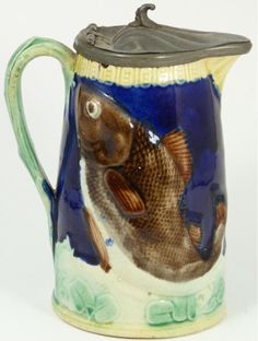 Antique Majolica Syrup Pitcher with Fish