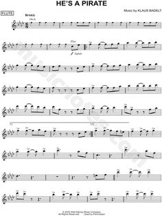 He's a Pirate - Flute From Pirates of the Caribbean: The Curse of the Black Pearl - Digital Sheet Music