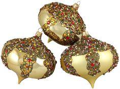 Asstd National Brand 3ct Gold Glitter Sequin Beaded Shatterproof Christmas Onion Ornaments 4 (100mm)