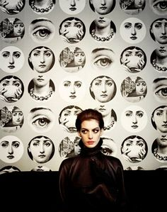 Anne Hathaway with Fornasetti wallpaper #Anne_Hathaway