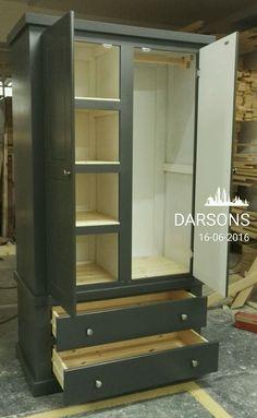handmade darsons 2 drawer gent wardrobe with shelves in half, fully assambled