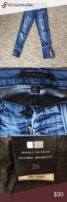 Flying Monkey Distressed Skinny Jeans Like new! Flying Monkey Distressed Skinny Jeans in size 26! Flying Monkey Jeans Skinny