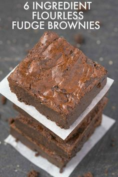 Flourless Fudge Brownies using just 6 EASY ingredients and a huge favorite- SO much better than any boxed mix! NO butter or flour but SO fudgy and gooey! {vegan, gluten free, paleo recipe}- http://thebigmansworld.com