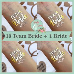 Set of 11 bachelorette party, bachelorette party tattoo,team bride,temporary tattoo, bridesmaid tattoo,bride,hens party,gold tattoo favor