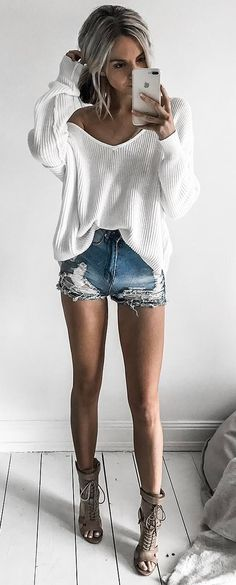 street style perfection; white top + denim shorts + heels http://www.canalflirt.com/affair//?siteid=1713441