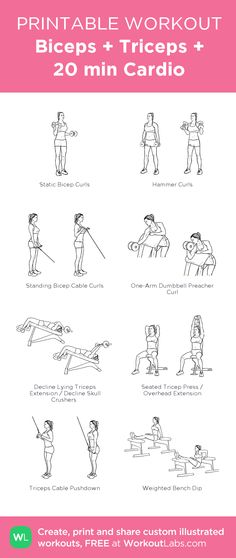 Biceps + Triceps + 20 min Cardio: my visual workout created at WorkoutLabs.com • Click through to customize and download as a FREE PDF! #customworkout