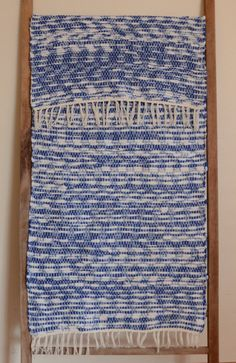 Hand Woven Rag Rug  Royal Blue and White by StudioatRedTopRanch