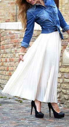 Maxi Pleated Skirt + Chambray Blouse w/ Classic Black Pumps ♥