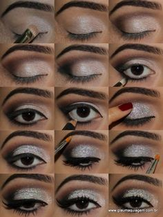 Great dramatic eye - tutorial is in Portugese, but the glitter is Glitter NYX in Disco Ball, pink shimmer shadow, brown shadow, black shadow, black eyeliner, fake eyelashes on the outer corner, beige eyeliner for the inner bottom lid.