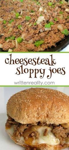 Cheesesteak Sloppy Joes Recipe : Here's an easy ground beef recipe that gives you all the wonderful flavors of a Philly Cheesesteak. It's delicious! Meat Recipes, Dinner Recipes, Cooking Recipes, Healthy Recipes, Venison Recipes, Hamburger Recipes, Beef Dishes, Food Dishes, Recipes