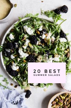 """Blackberry Goat Cheese Salad Healthy Salad Recipes on a Mission to Eradicate the """"Sad Desk Lunch"""" Best Summer Salads, Summer Salad Recipes, Healthy Salad Recipes, Green Salad Recipes, Delicious Recipes, Arugula Salad Recipes, Clean Eating, Healthy Eating, Healthy Food"""