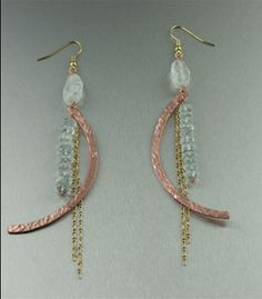 Hammered Copper Wire Jewelry | Hammered Copper Earrings with Aquamarine