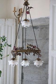 Antique chandelier, France Antique, Flower Garden chandelier 4 lights, antique lighting