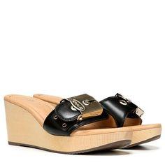 b501826d4c28 Dr. Scholl s Orig Collection Enya Wedge Sandal Black Leather Black Wedge  Sandals
