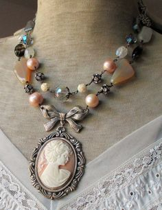 CUSTOM ORDER for Delene cameo and gemstone by TheFrenchCircus