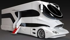 The World's Most Expensive Motorcoach New on the Market: the eleMMent Palazzo  Austrian company Marchi Mobile has constructed a spaced-age, luxury motor-mansion on wheels, the eleMMent Palazzo. This 2-level aerodynamic design gets 13 miles per gallon, helping to achieve a 20% increase in fuel efficiency of motor-homes. The body was designed by Luigi Colani, a German industrial designer.