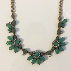 J. Crew Necklace Teal, slate and crystal necklace. Brass hardware. Lightly worn. J. Crew Jewelry Necklaces