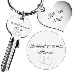 Schlüssel zu meinem Herzen mit Gravur Valentinstag Weihnachtsgeschenk AMORE LOVE