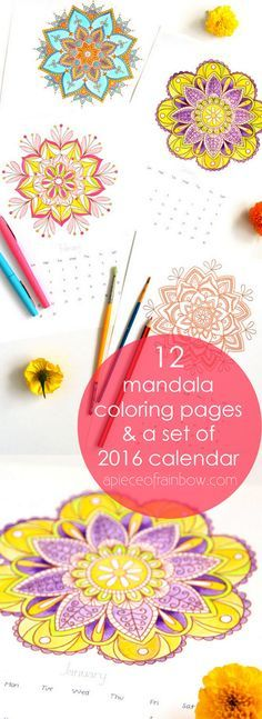 Mandala Coloring Pages + 2016 Calendar and 5 secrets on how to color beautiful mandalas! - Free Printables of 12 gorgeous mandala coloring pages, plus a set of color-your-own mandalas 2016 calendar! - A Piece Of Rainbow