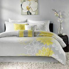 Home Essence Brianna Duvet Cover Bedding Set, Yellow Queen Comforter Sets, Duvet Sets, Duvet Cover Sets, King Duvet, Queen Duvet, Pillow Covers, Console, Yellow Bedding, Grey Bedding
