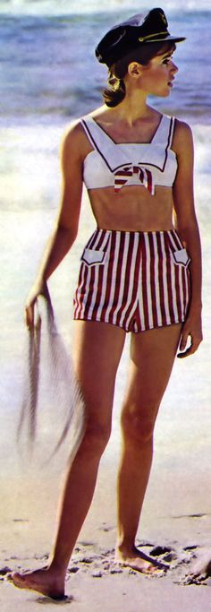 1960's amazing nautical bikini !! Gimme gimme !!     60s fashion