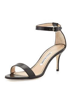 Manolo Blahnik Chaos Leather Low-Heel Sandal, Black