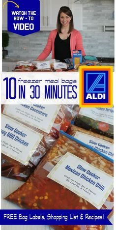 10 Freezer Meal Bags from Aldi in Under 30 Minutes! - 10 Freezer Meal Bags from Aldi in Under 30 Minutes! – freezer meals — helpful for prep before - Make Ahead Freezer Meals, Crock Pot Freezer, Freezer Cooking, Crock Pot Cooking, Budget Cooking, Bulk Cooking, Batch Cooking, Freezer Lasagna, Dump Meals
