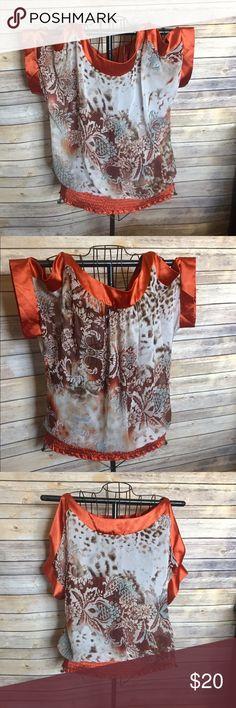 Cold shoulder Rust trimmed floral blouse Gorgeous cold shoulder blouse with rust trim & waistband janette plus Tops Blouses