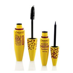 1Set=2pc High Quality Professional Make up Eye liner Set Leopard Colossal Black Mascara + Liquid Entice Cheetah Eyeliner
