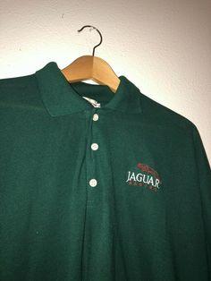 Vintage JAGUAR Racing Polo Golf Shirt Green Men\'s Size XL Jaguar Logo on Chest #fashion #clothing #shoes #accessories #mensc