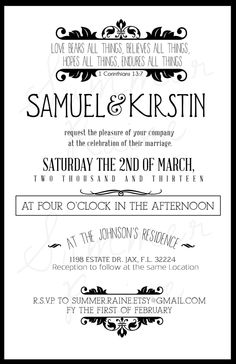 Custom Color Wedding Invitation- Vintage.  via Etsy.