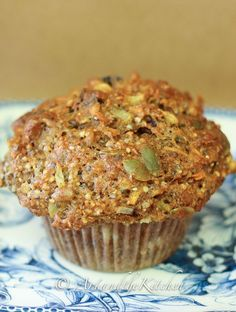 """Fuel to Go"" Muffins with whole wheat flour, seeds, cranberries and more. Will reduce the amount of sugar it calls for."