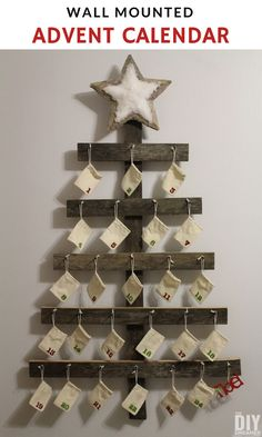 How to make a wall mounted advent calendar. Learn how fun and simple it is to build a wall mounted advent calendar for your family. Christmas On A Budget, Modern Christmas, Rustic Christmas, Christmas Crafts, Christmas Decorations, Christmas Tables, Nordic Christmas, Christmas Ideas, Christmas Christmas