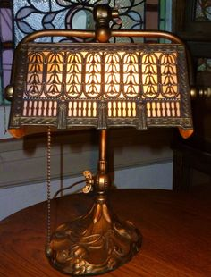 Art Nouveau Styled Desk Lamp with Filigree Slag Glass Shade