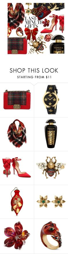 """#PolyPresents: Last-Minute Gifts Who Says You Can't Wrap Up A Gift For Yourself - The Tag On This Box Reads To: Sharee From: Sharee"" by sharee64 ❤ liked on Polyvore featuring Chanel, Gucci, Sylvia Alexander, The Merchant Of Venice, Ne'Qwa, La Perla, Baccarat, contestentry and polyPresents"