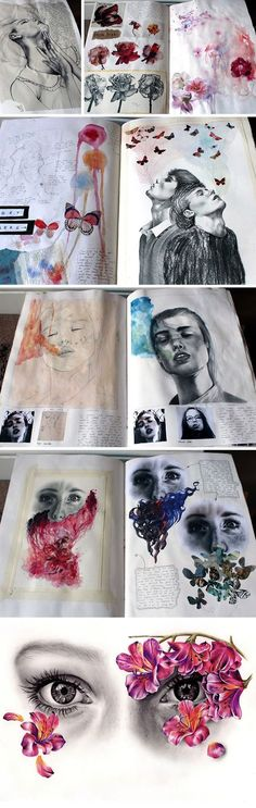 This sequence of work (primarily Kate's A Level Art sketchbook pages) shows experimentation with media and the exploration of compositional ideas. Artist influences are chosen cleverly: seamlessly integrating with her own aesthetic. Moleskine, Kunst Portfolio, Portfolio Ideas, Portfolio Layout, Portrait Au Crayon, Illustration Arte, Art Illustrations, Gcse Art Sketchbook, Fashion Sketchbook