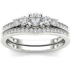 Imperial 1/2 Carat T.W. Diamond Classic 14kt White Gold Engagement Ring Set - Walmart.com