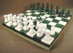 13.5 Chiellini Alabaster Green / White Chess / Checker Set. #popularboardgames