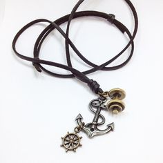 Colar Masculino leme âncora e halteres necklace male necklace moda acessórios