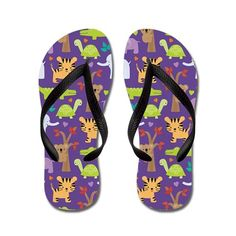 91d7a9b92 Cute Zoo Animals Flip Flops on CafePress.com Purple Flip Flops