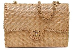 Chanel Classic Rattan Wicker Single Flap Gold HW Leather Shoulder Bag Vintage #CHANEL #ShoulderBag