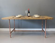 Copper leg, reclaimed wood table   Home decor   Pinterest   Copper ...