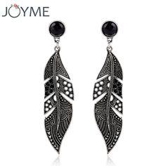 New Arrival Elegant Bohemian Vintage Feather Earring Summer Style Black Drop Earring Accessories For Women