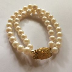 2 strand pearl bracelet approx 7 inches. Priced at $50.  Http://www.eds-creation.com.sg ✿
