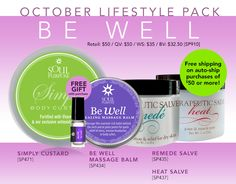 Our Joy of thee Month for October was Be well Featuring the Body Custard, Be well Balm, Heat and Remede and the free Perfume Oil called Joy only 50 dollars