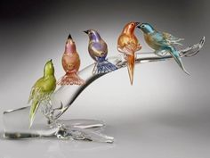 Art-Glass 'Birds' Sculpture by Murano Murano Glass, Glass Vase, Glass Crystal, Blown Glass Art, Art Of Glass, Cristal Art, Glass Figurines, Glass Animals, Glass Ceramic